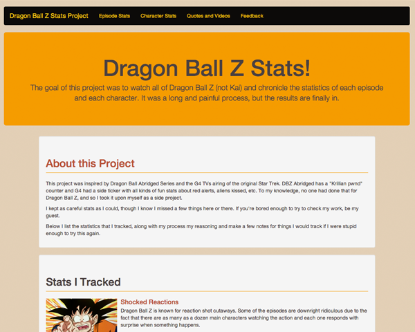 Dragon Ball Z Stats